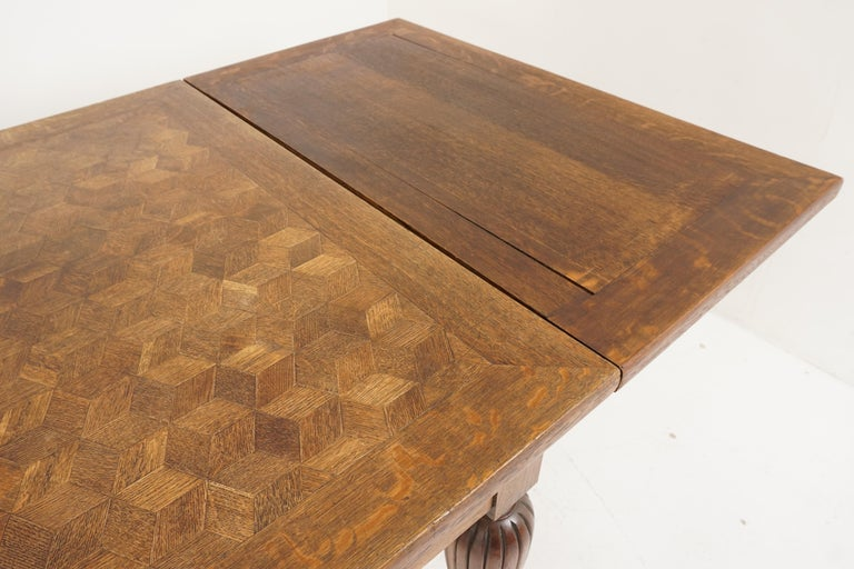 Antique Tiger Oak Table, Parquetry Pull Out Refectory Table, France 1920, B2741 For Sale 3