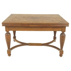 Antique Tiger Oak Table, Parquetry Pull Out Refectory Table, France 1920, B2741