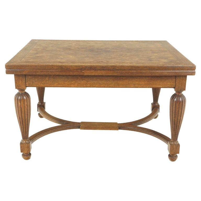 Antique Tiger Oak Table, Parquetry Pull Out Refectory Table, France 1920, B2741 For Sale