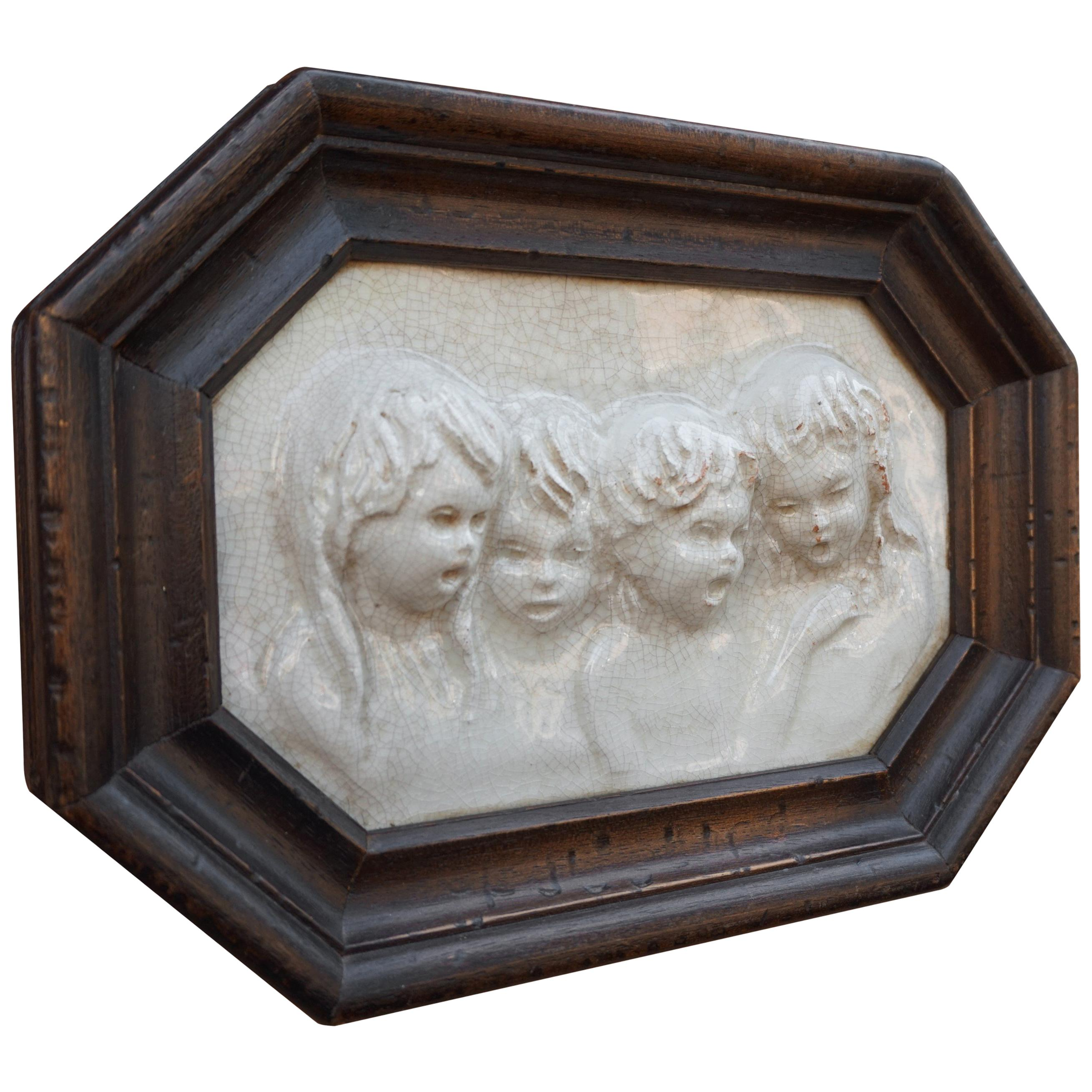 Antique Tile in Frame with Devout Singing Angelic Children Sculptures in Relief