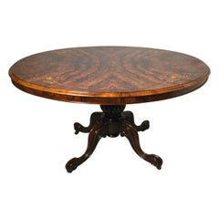 Antique Tilt Top English Burl Walnut Breakfast Table