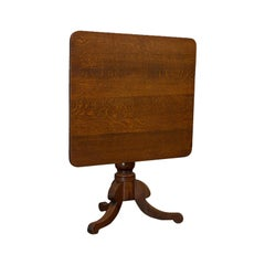 Antique Tilt-Top Table, English, Victorian, Oak, Side, Lamp, Card, circa 1850