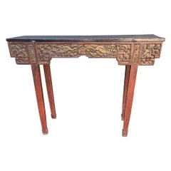 Antique Timeless Design Chinese Altar Table with Meaningful Crane Bird Carvings