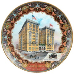 Antique Tin Charger Advertising Sign, Lenox Hotel Buffalo N.Y, ca. 1910