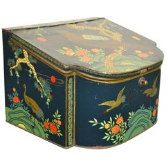 Antique Tin with Asian Birds, 1920s, The Netherlands