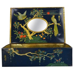 Antique Tin with Birds and Mirror Inside
