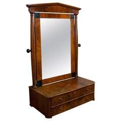 Toilet Mirror, English, Walnut, Vanity, Empire Style, Victorian, circa 1880