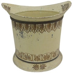 Antique Tole Cream and Gold Waste Basket from The Collection of Villa Fiorentina