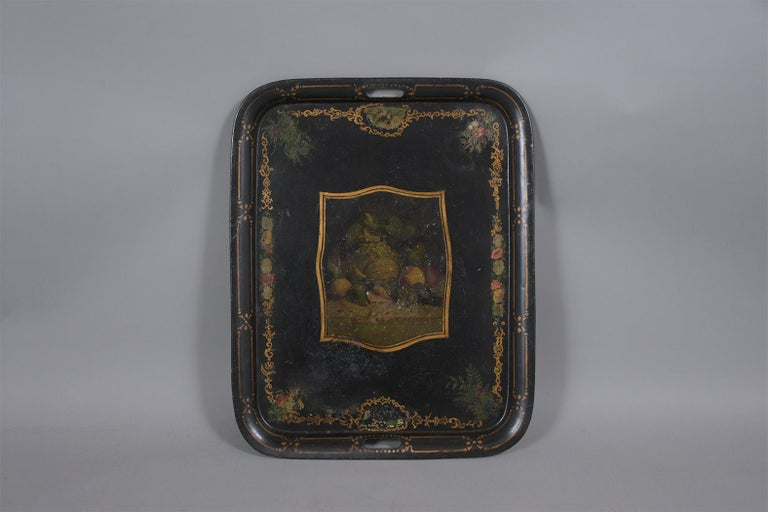 Antique Tole Tray Table For Sale 4