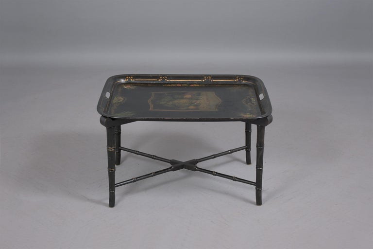 Hand-Crafted Antique Tole Tray Table For Sale