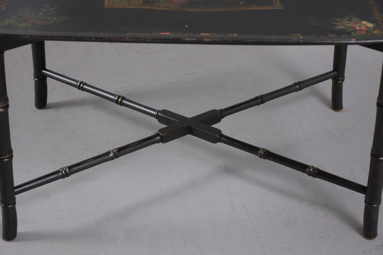 Metal Antique Tole Tray Table For Sale