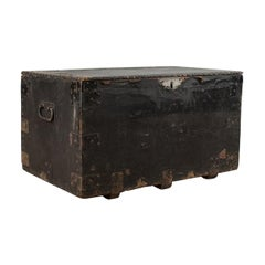 Antique Tool Chest English Victorian Metal Bound, Mahogany, Trunk, circa 1900