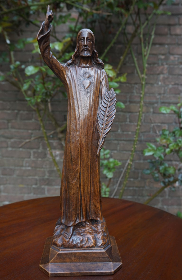 Finest quality carved sculpture of Jesus with a marvelous patina.  This marvelous quality, hand-carved sculpture of our Lord Jesus is among the finest we have ever seen and this truly is a work of religious art. It may be relatively small in size,