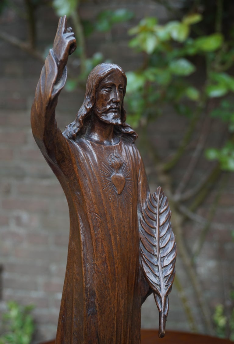 Hand-Carved Antique Quality Carved Solid Nutwood Christ with Palm Leaf Sculpture / Statuette For Sale