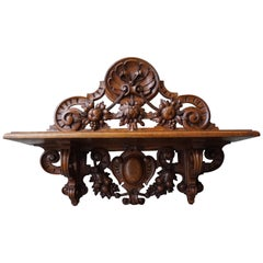 Antique & Top Quality Hand Carved Wall Bracket / Shelf with Amazing Patina 1890s