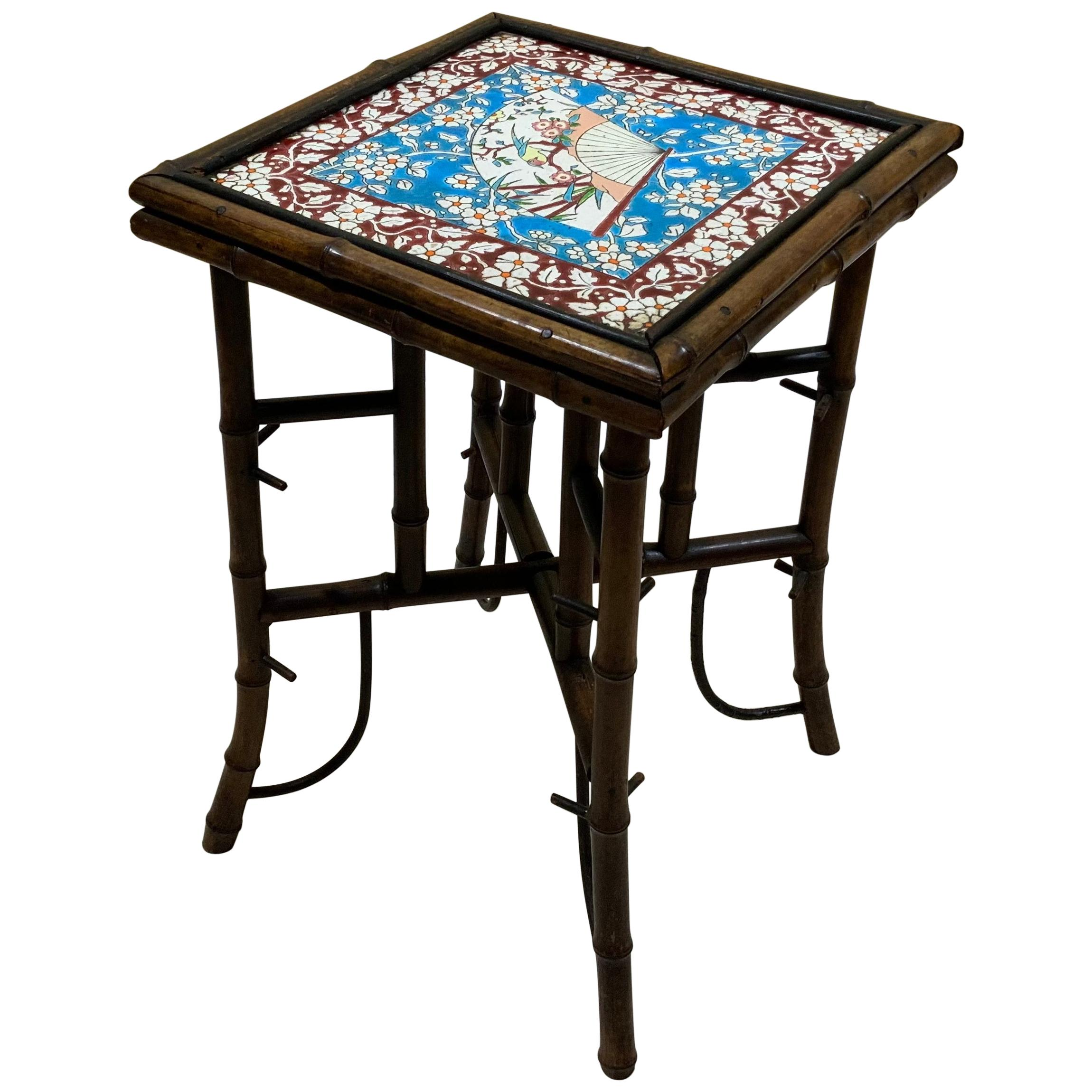 Antique Top Tile Bamboo Small Table