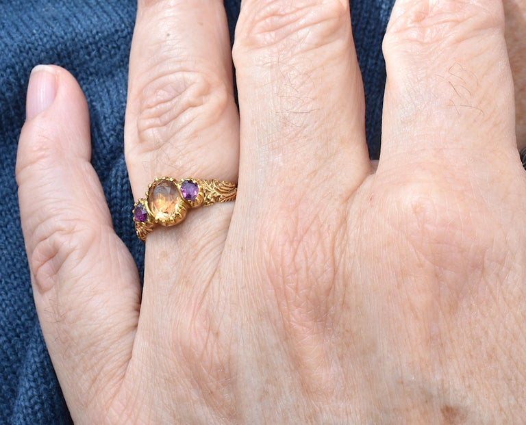Antique Topaz Ruby Ring For Sale 5