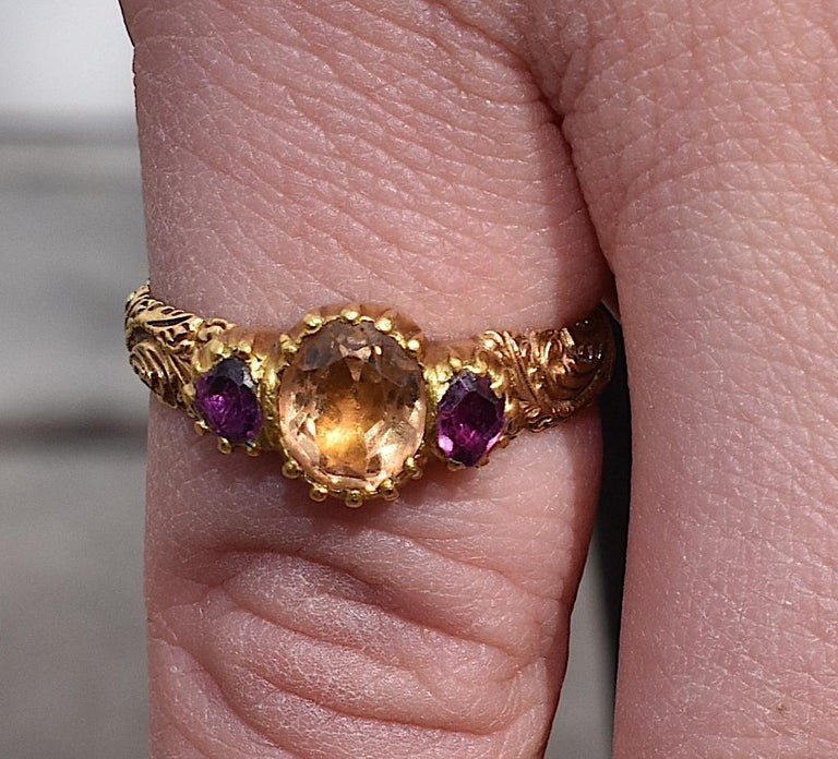 Antique Topaz Ruby Ring For Sale 1