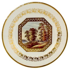 Antique Topographical Derby English Porcelain Plate Entitled 'Near Derby'