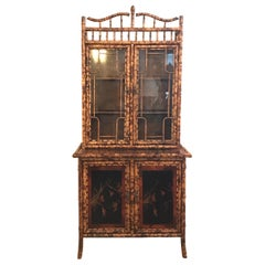 Antique Tortoise or Burnt Bamboo Two Part Pagoda Style Cabinet