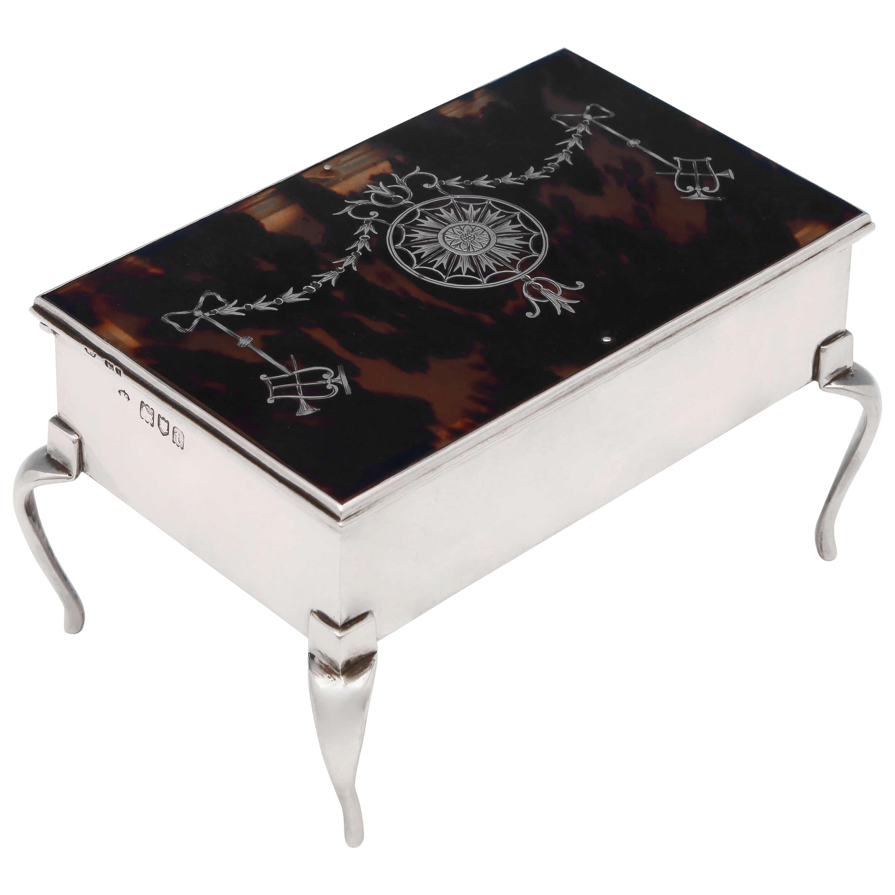 Antique Tortoiseshell and Sterling Silver Jewelry Box by William Comyns, 1912