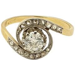 Antique Tourbillon Diamond 18 Karat Gold Ring