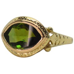 Antique Tourmaline Gemstone Yellow Gold Ring