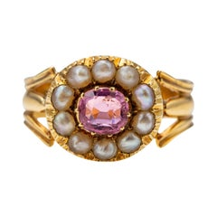 Antique Tourmaline & Natural Pearl Ring