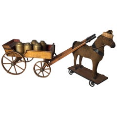 Antique Toy Mohair Horse with Primitive Milk Wagon
