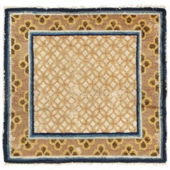 Antique Traditional Blue and Brown Geometric-Floral Wool Rug