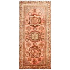 Antique Traditional Khotan Pink and Brown Wool Rug with Medallions