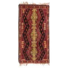Antique Traditional Turkish Red and Gold Wool Kilim Rug