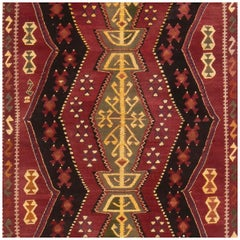 Antique Traditional Turkish Red and Gold Wool Rug with Geometric Pattern