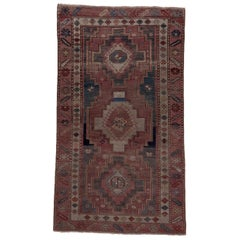 Antique Transcaucasian Rug, Colorful Palette, Purple Borders, Multicolored Field