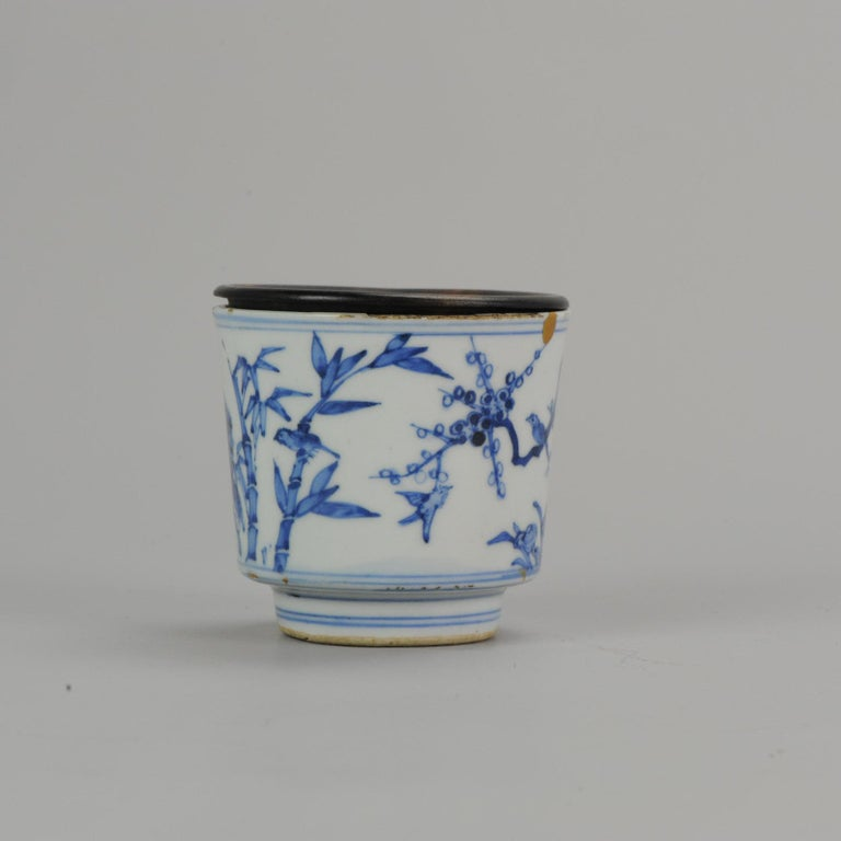 Ming Antique Transitional Period Chinese Bowl Cup Three friends of Winter Marked For Sale