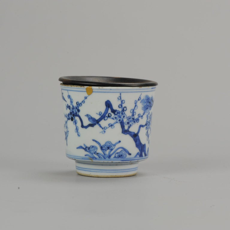 Antique Transitional Period Chinese Bowl Cup Three friends of Winter Marked In Good Condition For Sale In Amsterdam, Noord Holland