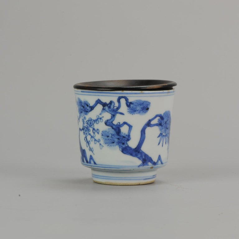 16th Century Antique Transitional Period Chinese Bowl Cup Three friends of Winter Marked For Sale