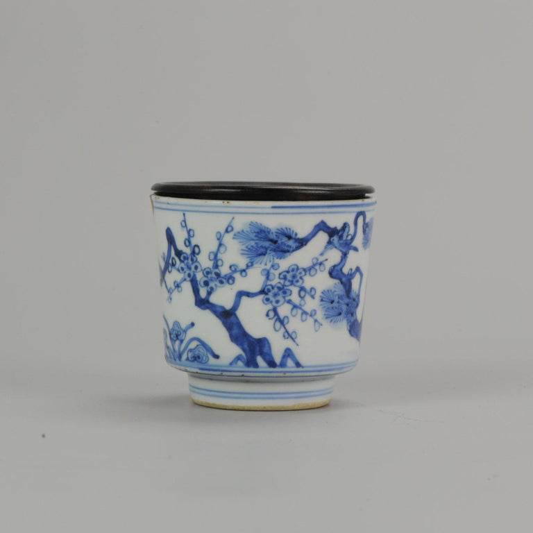Porcelain Antique Transitional Period Chinese Bowl Cup Three friends of Winter Marked For Sale
