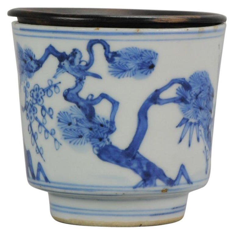 Antique Transitional Period Chinese Bowl Cup Three friends of Winter Marked For Sale