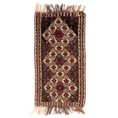 Antique Transitional Turkish Red and Beige Wool Kilim Rug with Elibelinde
