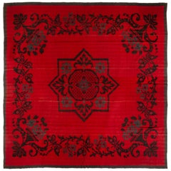 Antique Transitional Turkish Red and Black Geometric Pattern Kilim Rug