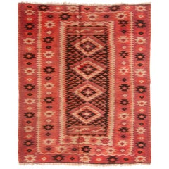 Antique Transitional Turkish Red and Black Wool Kilim Rug