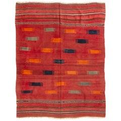 Antique Transitional Turkish Red Wool Kilim Rug
