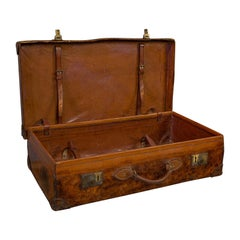 Antique Travel Suitcase English, Leather, Gentleman's Case, Edwardian circa 1910