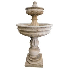 Antique Travertine Stone Fountain, Double Basin, 1700, Italy