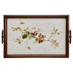 Antique Tray with Art Nouveau Tile Panel with Floral Decoration