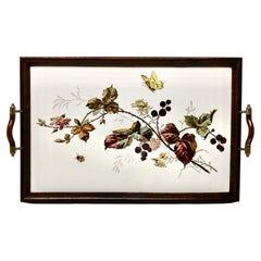 Antique tray with Art Nouveau tile panel with Florale decoration, 1905s