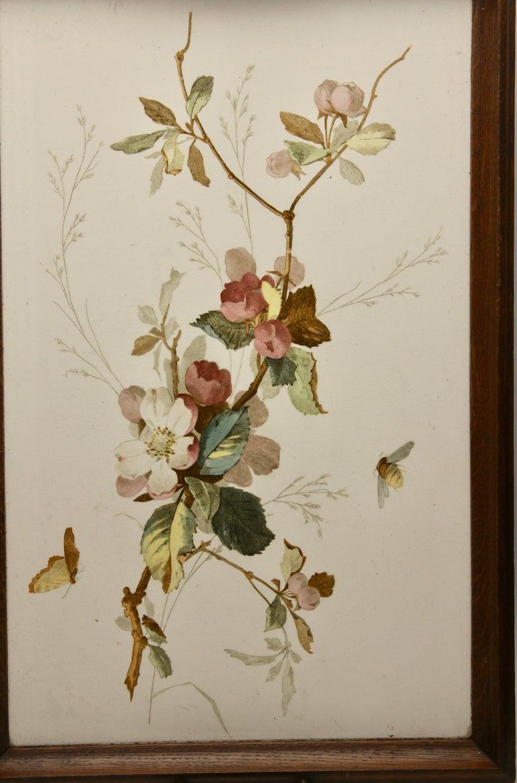 Porcelain Antique Tray with Art Nouveau Tile Panel with Flower Decoration Hand Painted For Sale