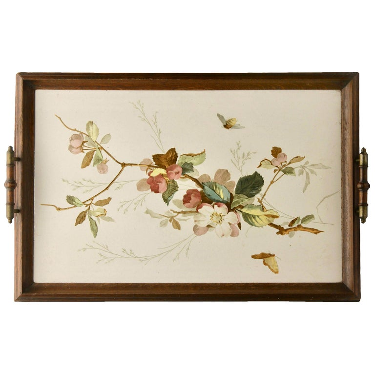 Antique Tray with Art Nouveau Tile Panel with Flower Decoration Hand Painted For Sale