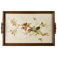 Antique Tray with Art Nouveau Tile Panel with Flower Decoration Hand Painted